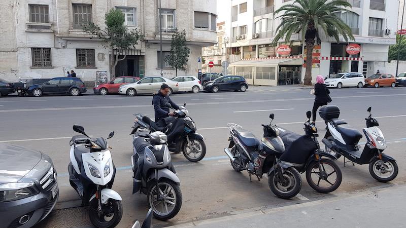 Как и в любой теплой и небогатой стране - очень много скутеров. Интересно, что в Касабланке зимой бывает прохладно, поэтому у скутеристов есть специальные фартучки