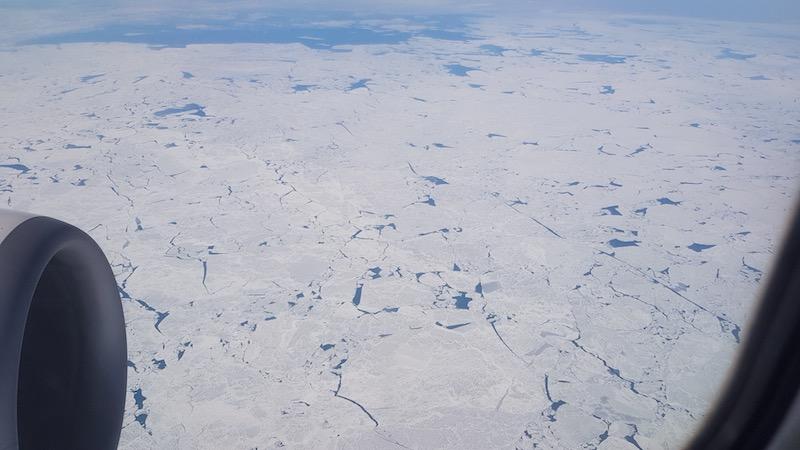 А над Каспийским морем - очень красивый лед